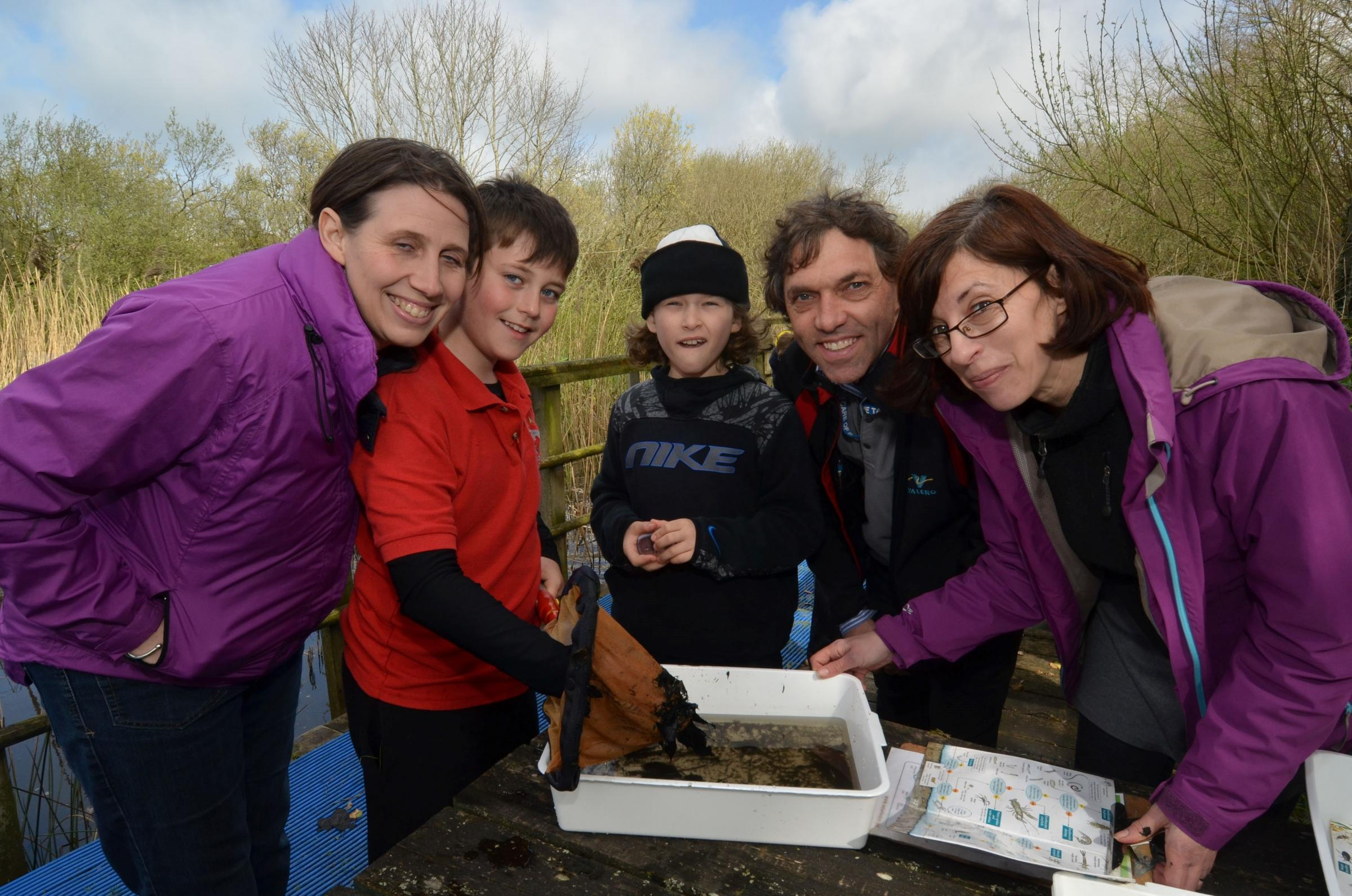 NATURE TALK: Valero Environment Manager Neil White and Pwllcrochan project coordinator Clare Jessop (right) with