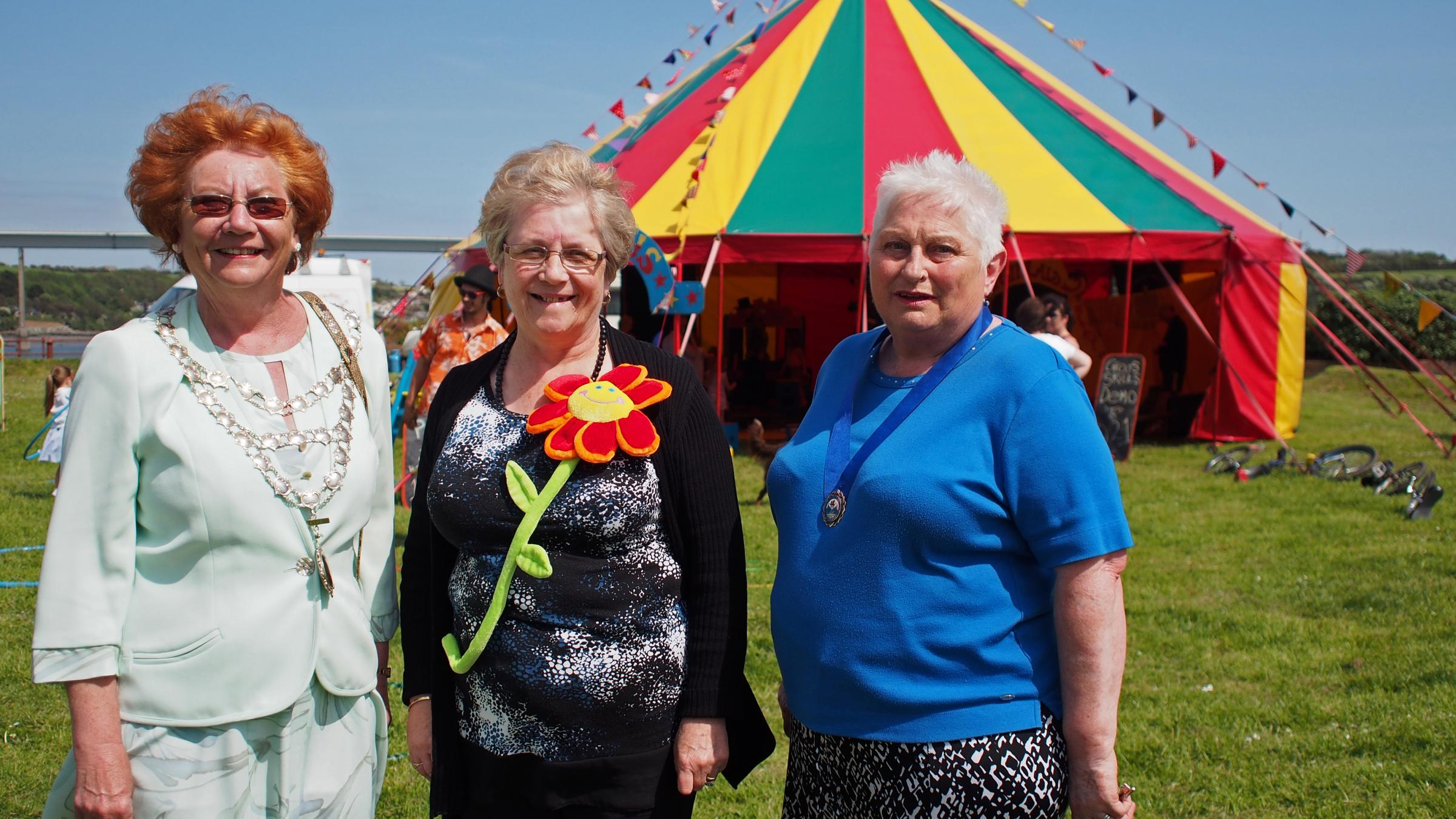 BIG TOP DAY: Outgoing Mayor of Neyland Maureen Molyneux, consort Jennie Rayner and incoming Deputy Mayor Margaret Brace. PICTURE: Milford Mercury.