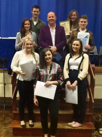 WELL DONE: Jack Beddis, Rebecca Davies, Laura-Jayne Davies, Guest Speaker Mr George Johns, Joseph Drake, Angharad Bowie, Rebecca Picton and Lydia Evans. (6233219)