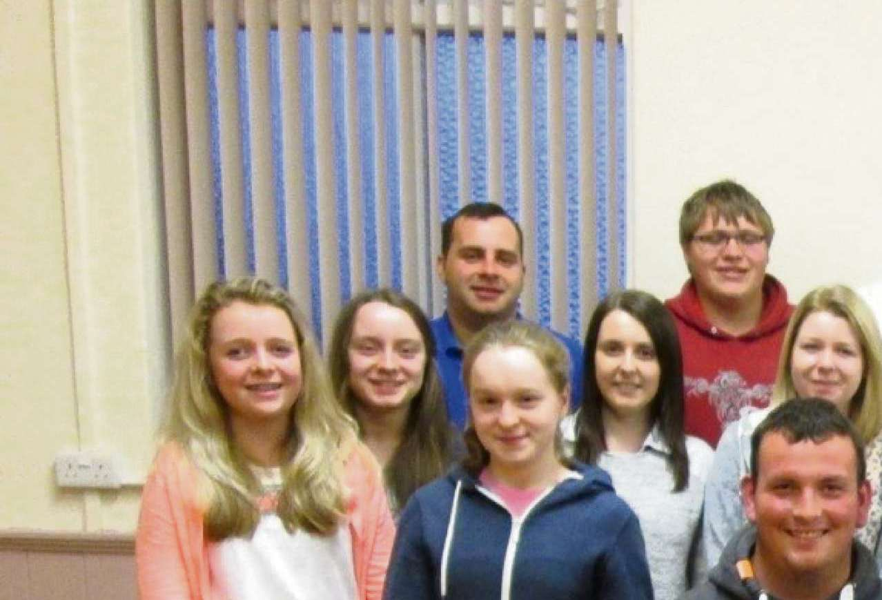 ARK THE HERALDS ANGELS SING: Pictured are Tom Bevan, Paul Canning, Chairman of Tiers Cross YFC, and YFC members.