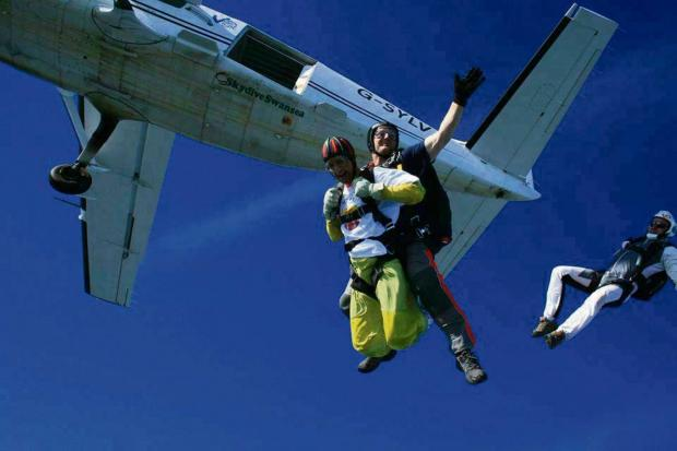 Milford Mercury: HEIGHT-HATER: Paul overcomes his fear of heights by leaping out of a plane 13,000 in the sky.