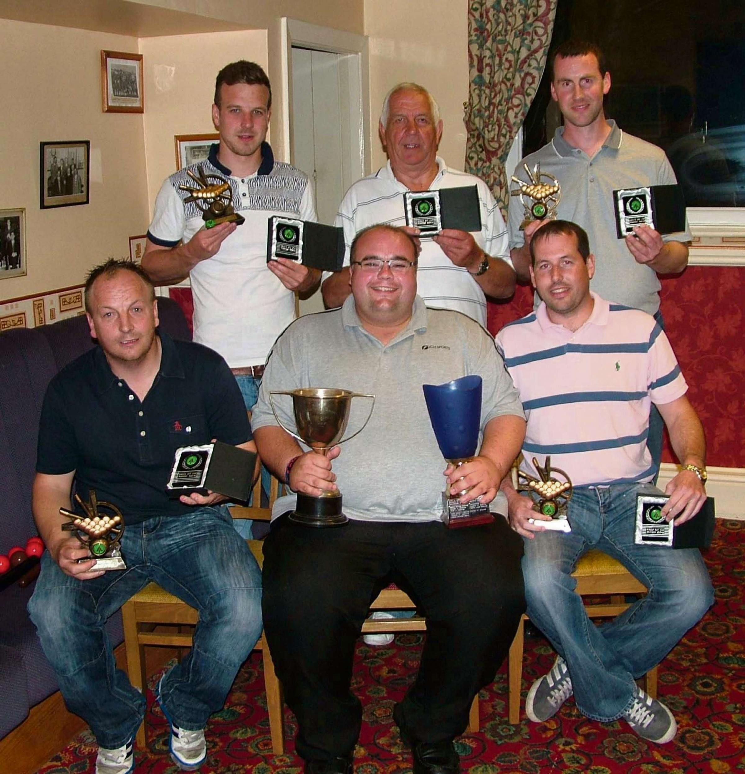 DOUBLE WINNERS: The British Legion snooker team of Mark McCarthy, Gareth Barrett, David Malloy, Richard Jones, D