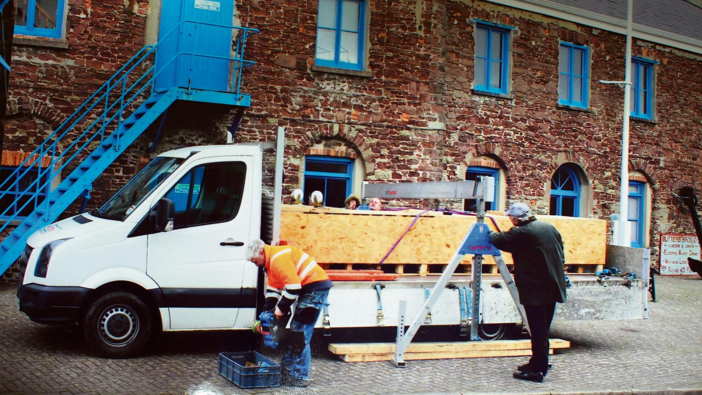 NEW DISPLAY: Milford Haven Museum taking delivery of the huge trough earlier this year.