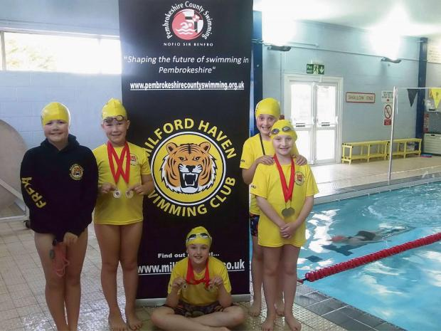 MEDAL WINNERS: Megan Rickard, Amber Yelland, Freya Dimond, Megan Griffiths and Beau Yeomans. (7722914)