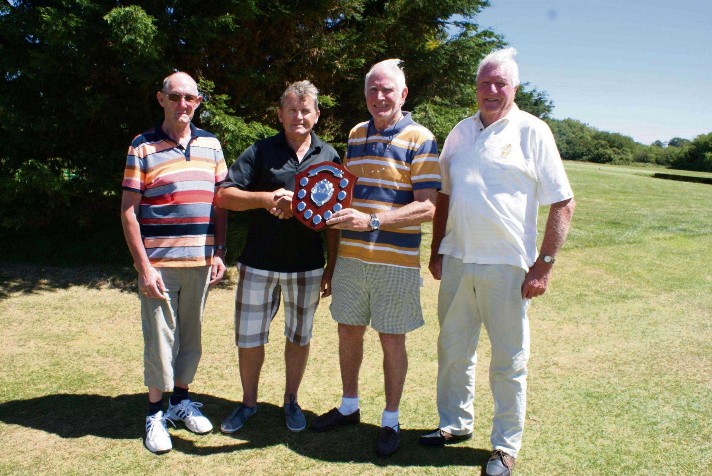 SENIORS TROPHY: Hylton John Seniors Trophy - Seniors' Captain Bob Stokoe with winner John McLean,  runners up Colin Rogers and Gordon Manwaring.    (7735501)