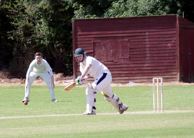 HOT SHOT: Llangwm's James Venables tickles a shot through mid on. PICTURE: Western Telegraph. (7916028)