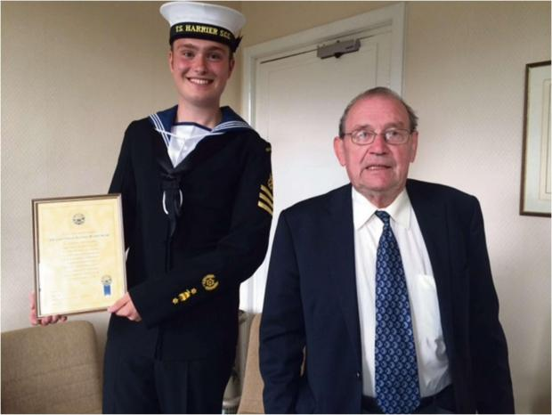 SUPER CADET: Petty Officer Cadet Callum Snape with the Mayor of Milford Haven. (8277349)