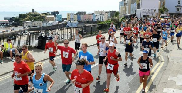 GOOD TIMES: Record numbers turned out for the Tenby 10k run.  PICTURE: Gareth Davies Photography.