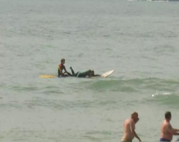 Rescue: A teenage kayaker was rescued by the RNLI yesterday at Freshwater West. PICTURE: RNLI