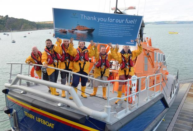 BIG THANKS: Tenby RNLI thank Valero for fuel donation. PICTURE: Gareth Davies  (9273180)