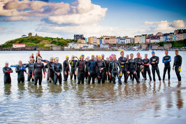 GETTING READY: Some of Sunday's Caldey Swim entrants are pictured during a training session break. PICTURE: Darren Coates Design.