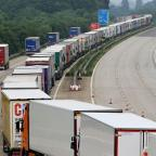 Milford Mercury: Lorries parked on the M20 in Ashford, Kent, under Operation Stack