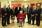 Ken Bromley, HOPE Centre chairman, Mayor Margaret Brace and her husband, High Sheriff of Dyfed Jamie Lewis, Cllr Wynne Evans - chairman of Pembrokeshire County Council - and consort Gwyneth Johns - and Stewart and Elizabeth Treharne. PICTURE: Western Tele