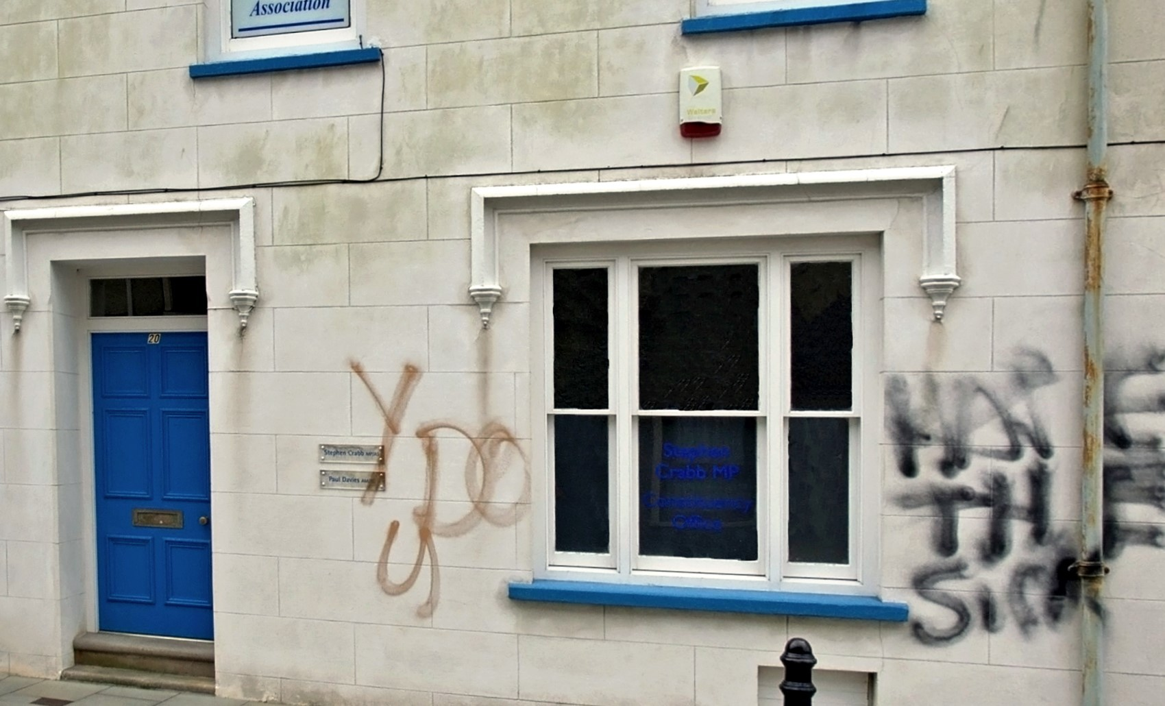 'Why do you hate the sick' written on the Conservative offices in Haverfordwest. PICTURE: Western Telegraph
