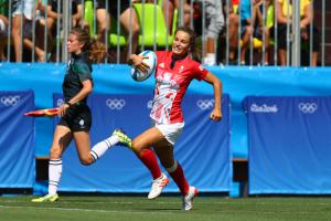 Jasmine Joyce speeds over for Team GB against Brazil with her very first touch at the Olympic Games. Picture supplied to the Western Telegraph by USA Today.