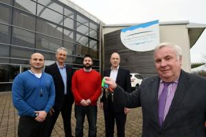 Pictured at the Bridge Innovation Centre (BIC) are Pembrokeshire County  Council Deputy Leader Keith Lewis, BIC manager David Thomas (second from left), and new tenants, from the left: Nick Curcio of Pembrokeshire Design Limited; Sean Lade, Easy Garden Ir