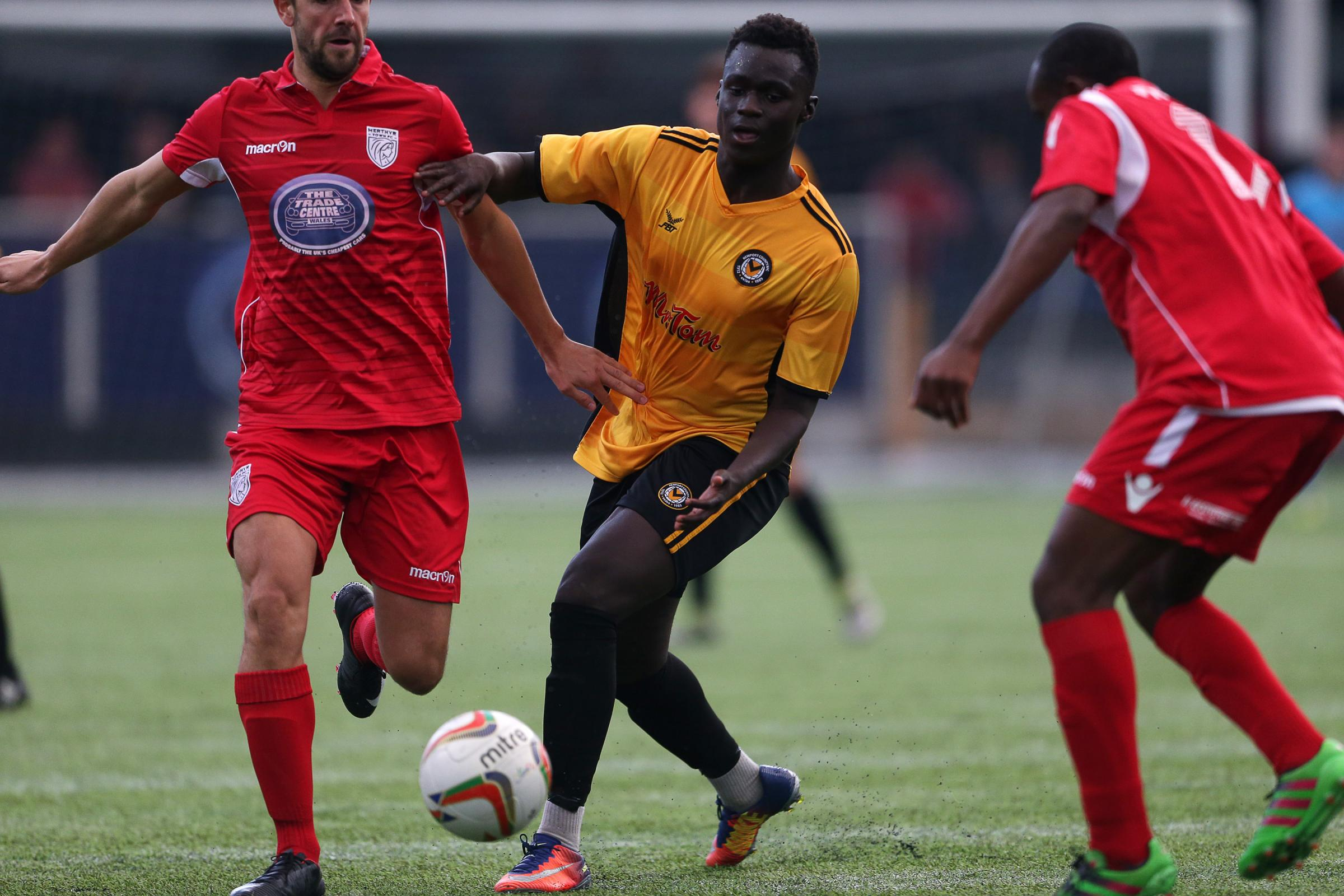 PROSPECT: Momodou Touray in action for Newport County against Merthyr Town in a pre-season friendly