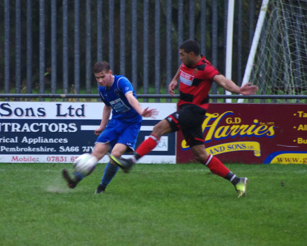 Action from Haverfordwest's 5-0 win. PICTURE: Western Telegraph.