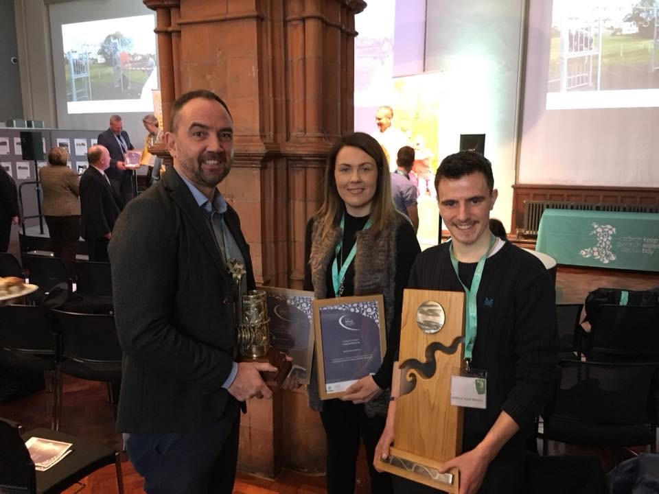 Pictured with the two trophies and certificates won in Cardiff on Monday night are Nick Hudd (left); Kimberley Davies (youth support worker) and Milford Youth Matters co-ordinator, Dale Gibby.