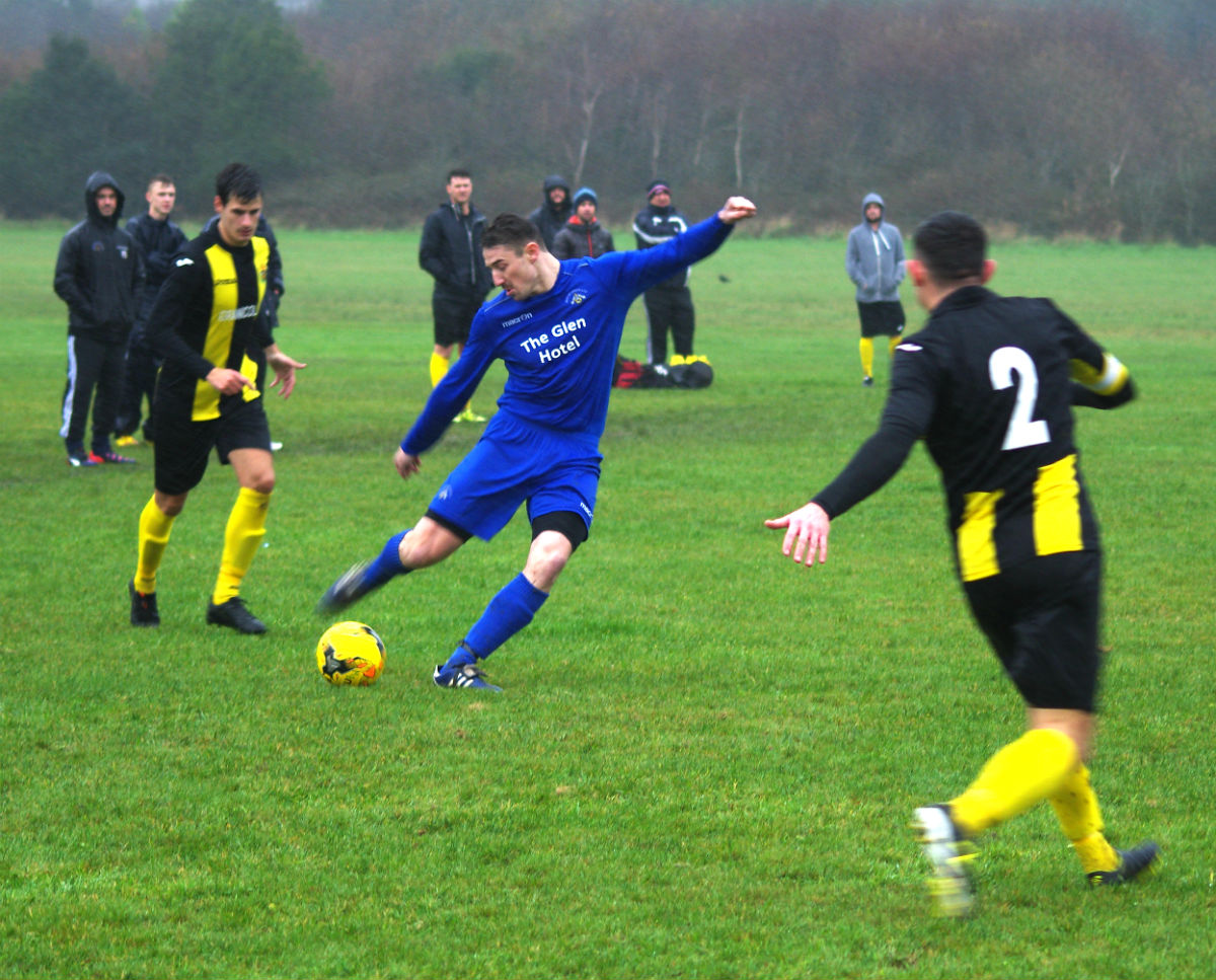 Action from Merlins Bridge v Herbie last week. PIC: Milford Mercury.