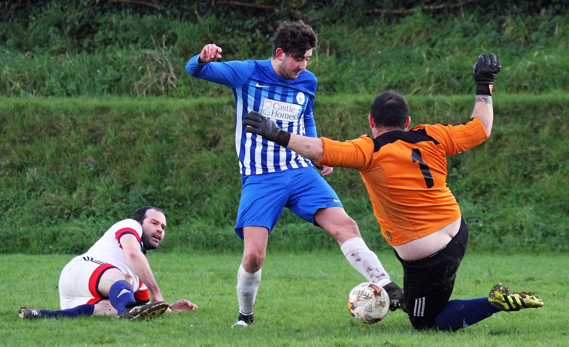 Narberth's Dafydd Wright has a shot saved against Lamphey. PICTURE: Susan McKehon.