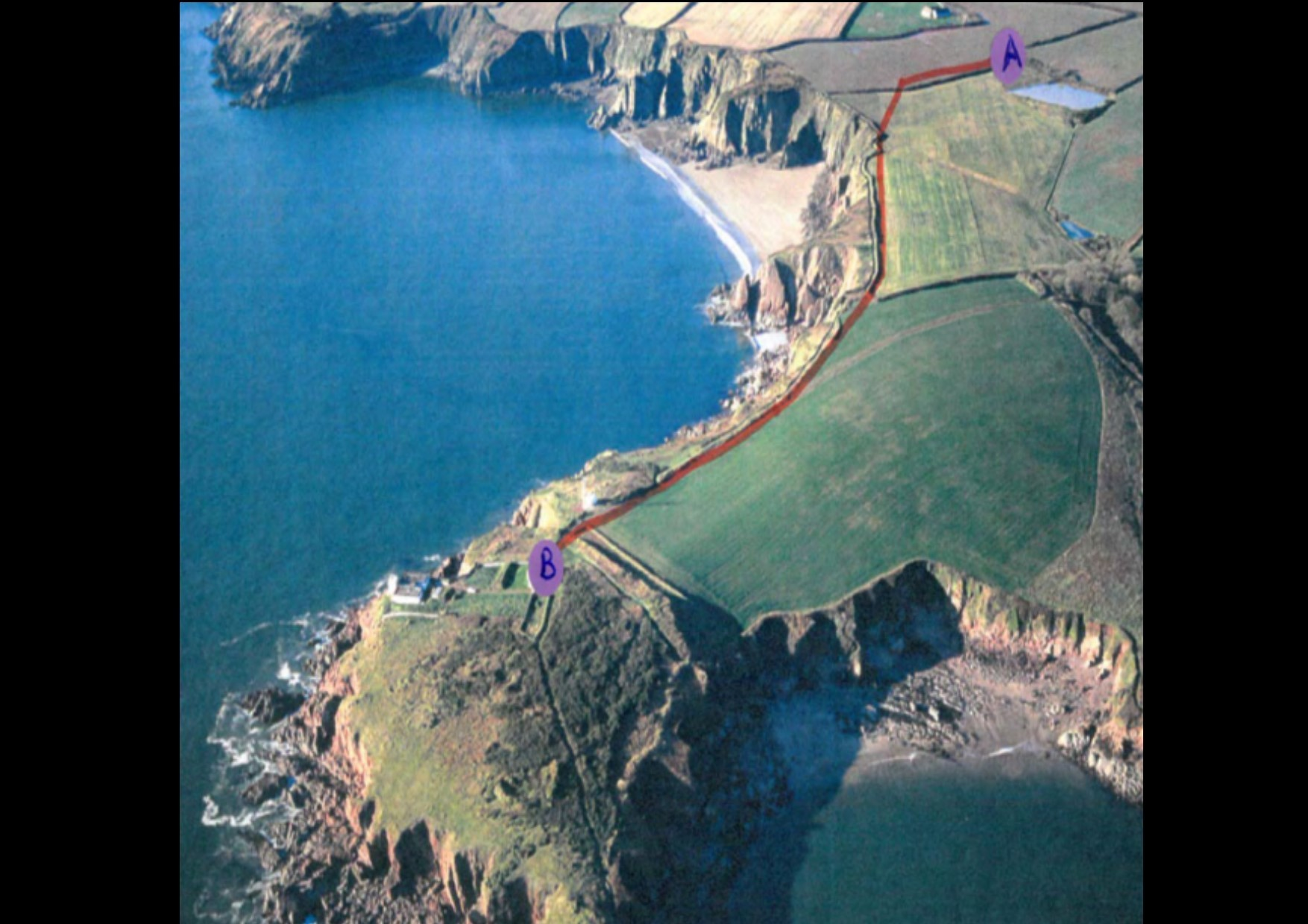 An image from the report presented to the Pembrokeshire Coast National Park authority, with a red line showing the cable line set to be buried at Great Castle Head. PICTURE: Pembrokeshire Coast National Park.