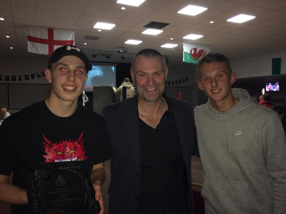 Actor Julian Lewis Jones at the show with brothers Dylan Scott and Ben Steele, who both won their bouts.