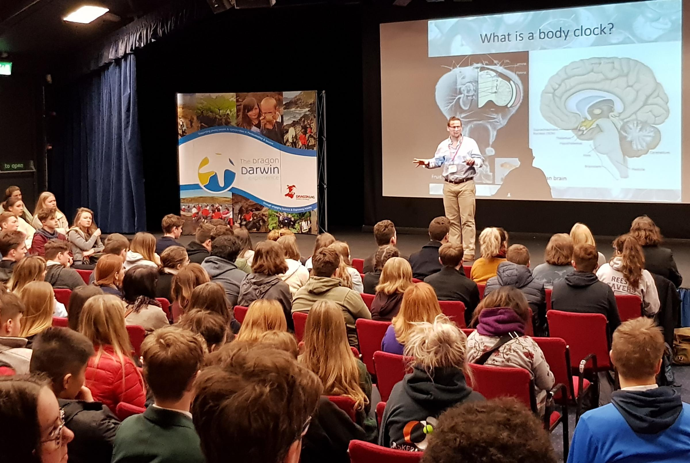 Dr David Wilcockson talks about body clocks with pupils from across the county.