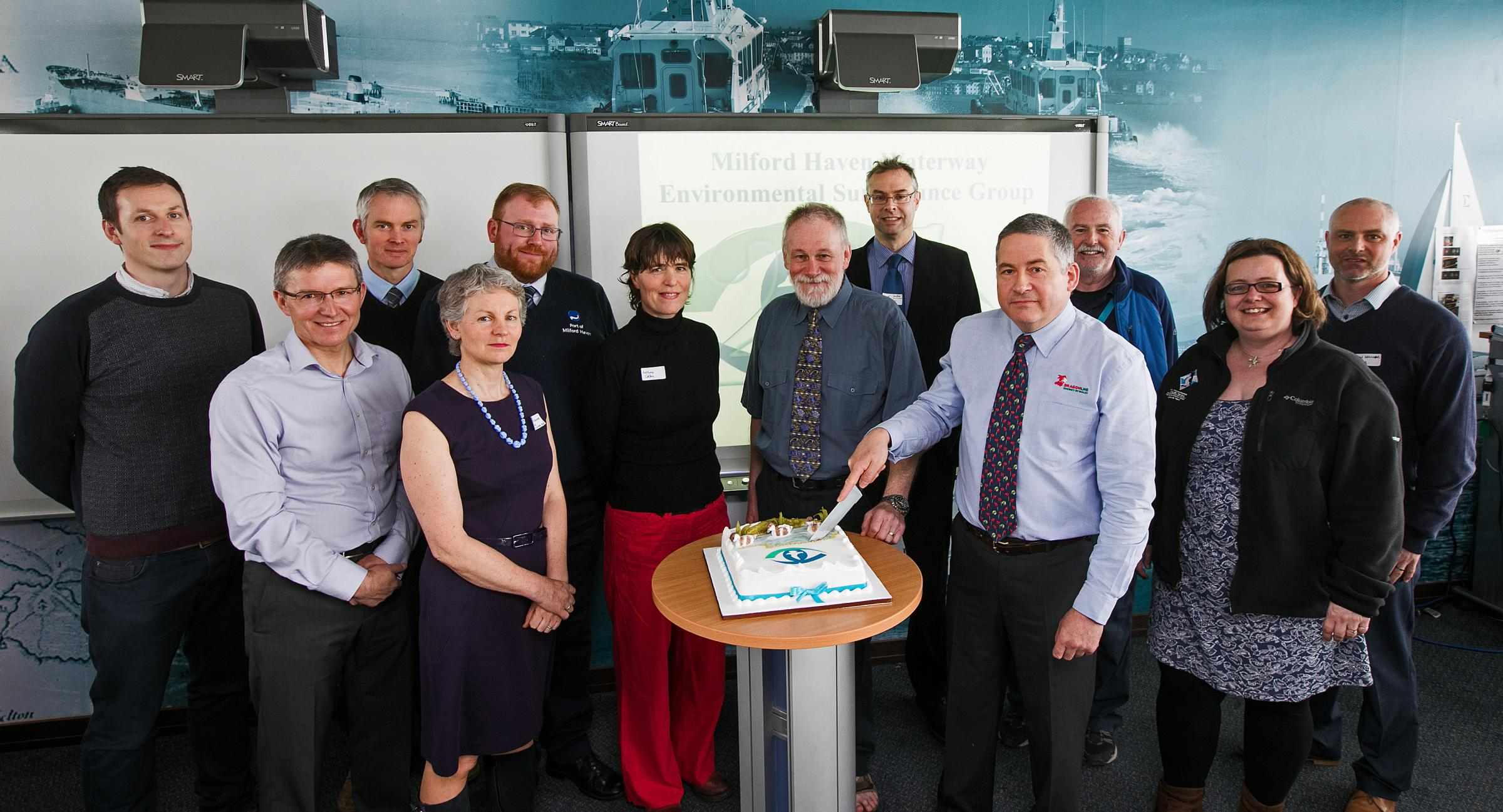Members of the Milford Haven Waterway Environmental Surveillance Group celebrate their 25th anniversary.