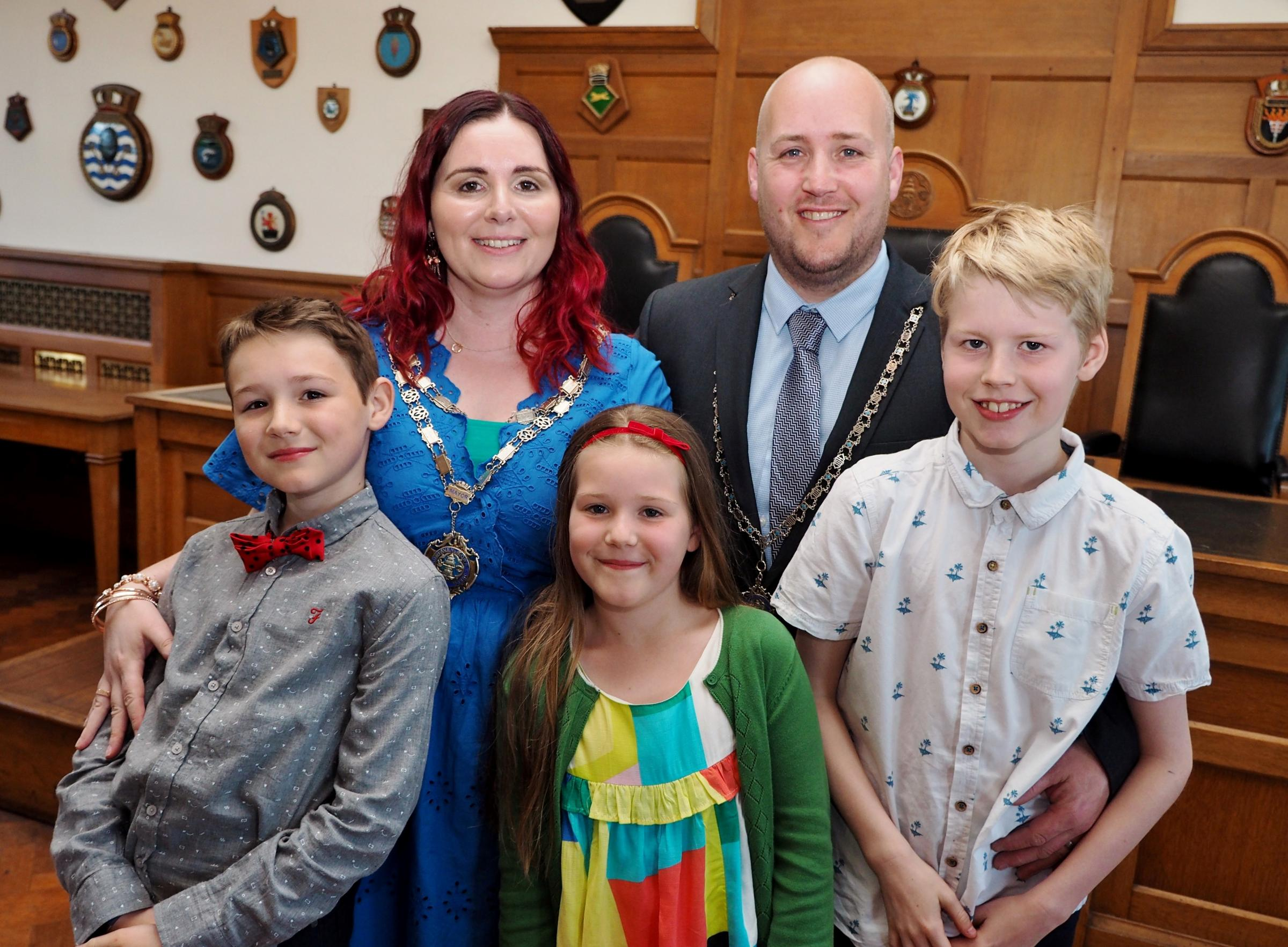Milford Haven's new mayor, Cllr Rose Gray, with her family. PICTURE: Milford Mercury