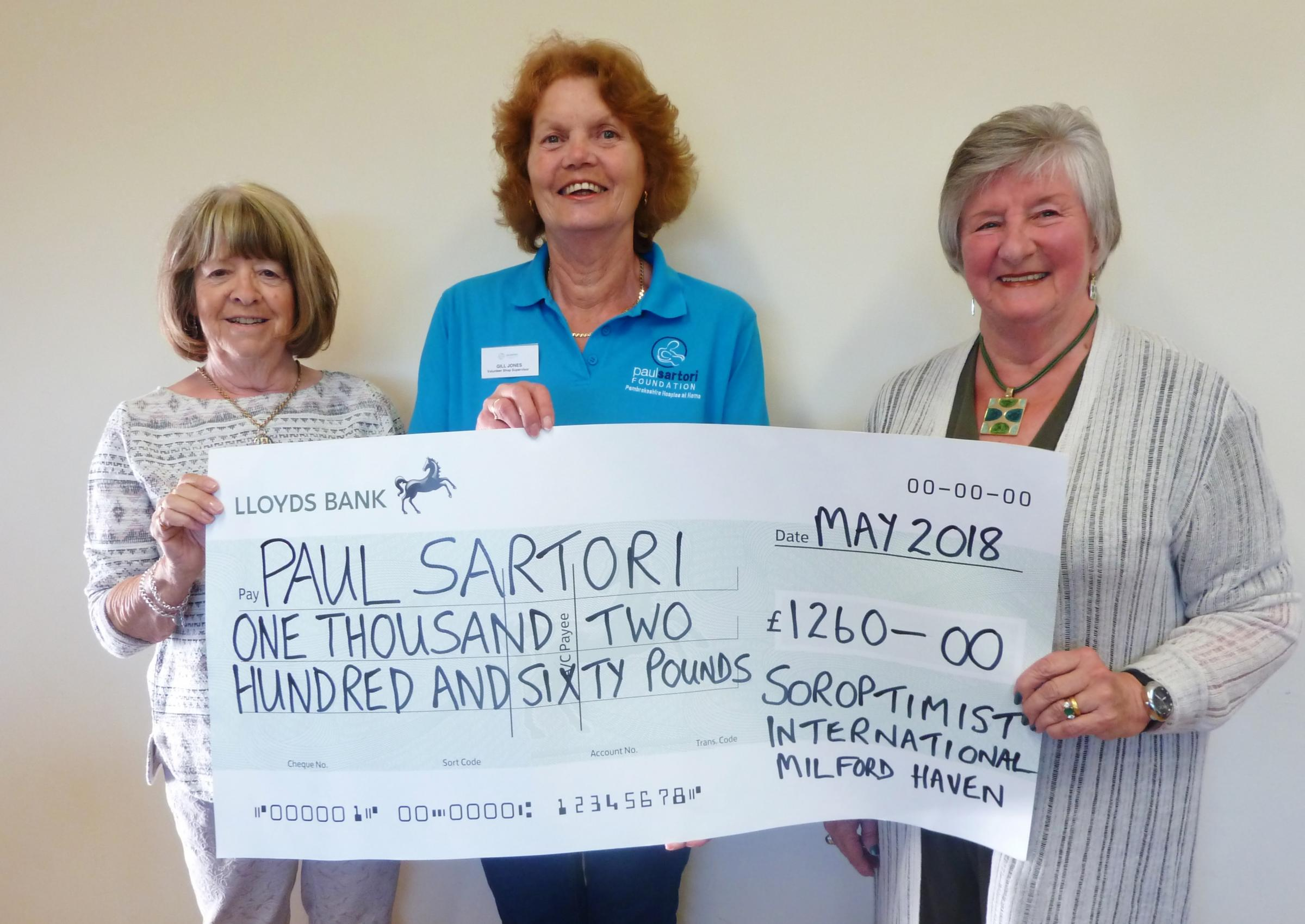 Soroptimists International Milford Haven presented a cheque to Paul Sartori.