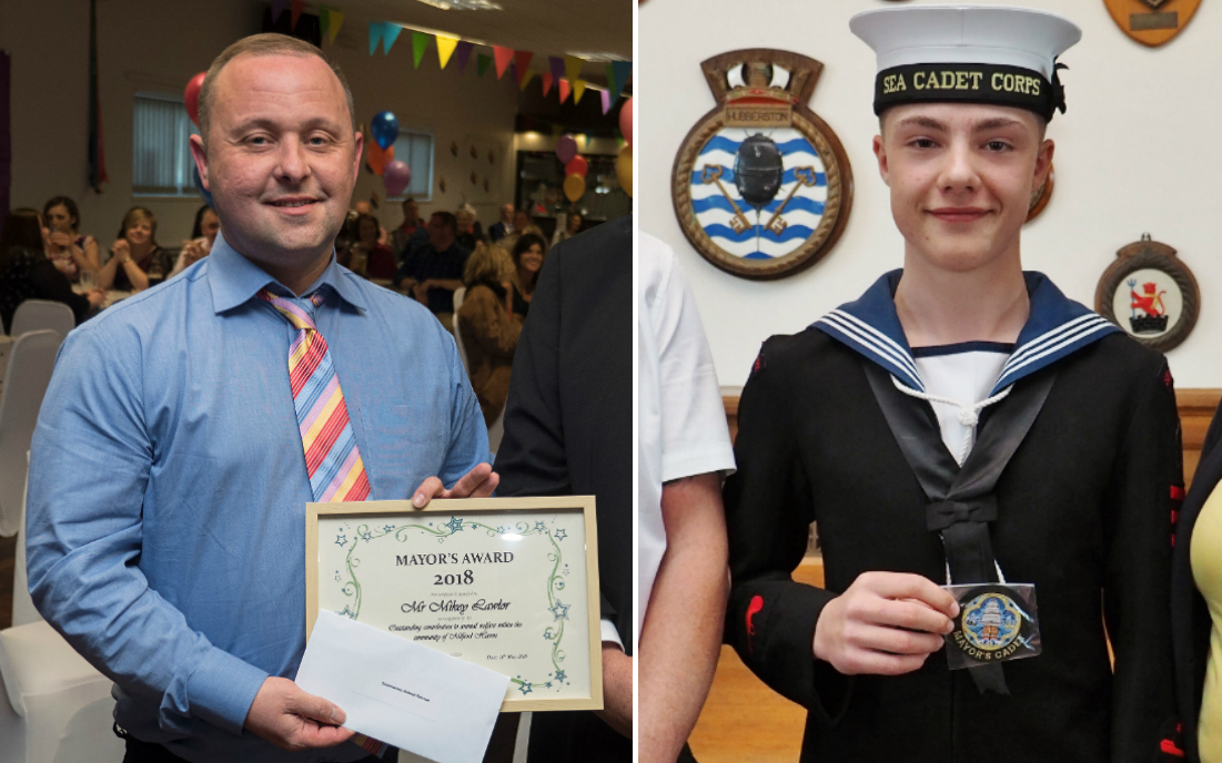 Mikey Lawlor and Jago Clarke are among those to receive and award from Milford Haven Town Council. PICTURES: Milford Mercury
