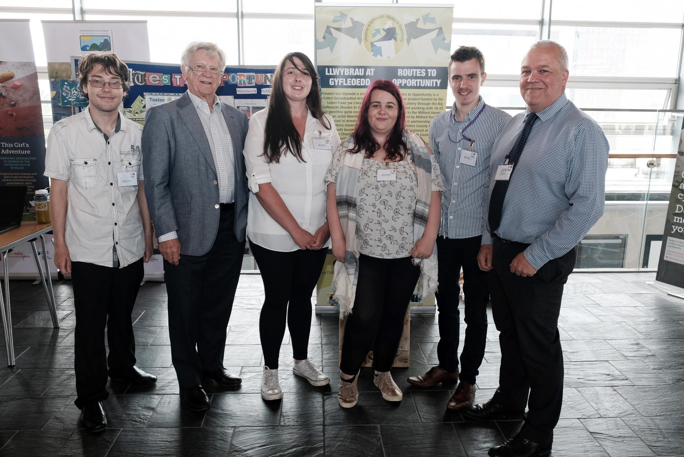 Milford Youth Matters including Jordan and Jade with Big Lottery Fund Wales Director John Rose and Sir Adrian Webb.