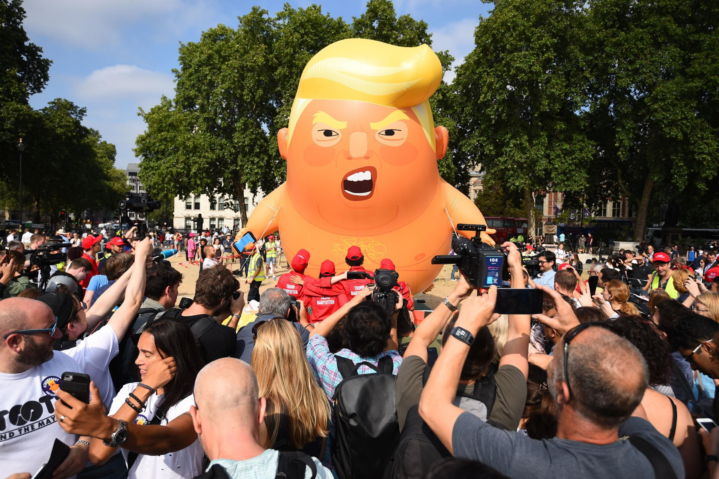 The Trump 'baby' balloon in London's Parliament Square in July 2018. PICTURE: Kirsty O'Connor/PA Wire.