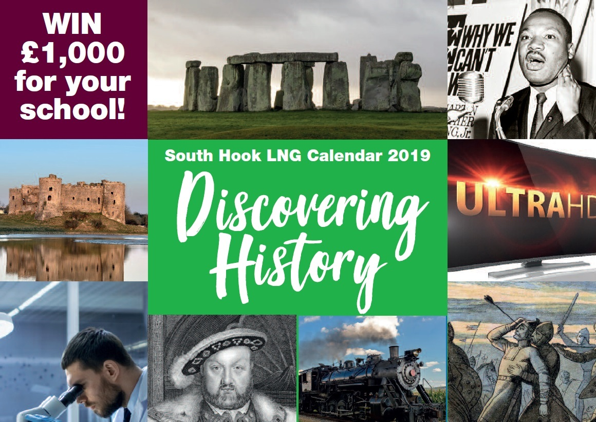 The Competition Poster for the South Hook LNG 2019 Calendar Competition – 'Discovering History'.