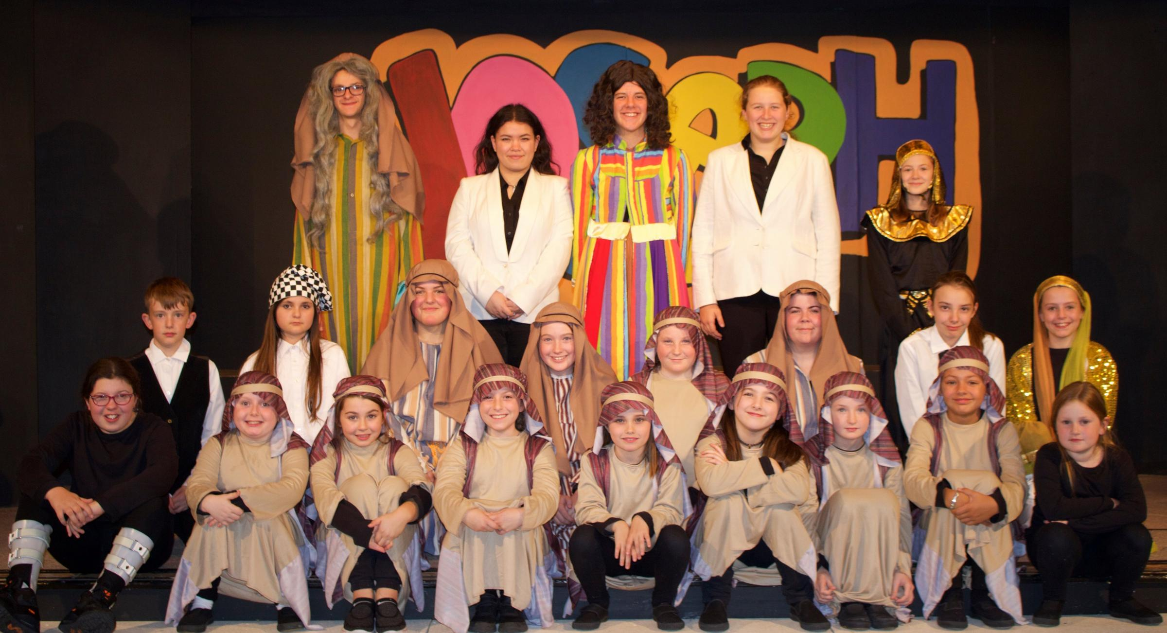 The St Katharine Players cast for Joseph and the Amazing Technicolor Dreamcoat.