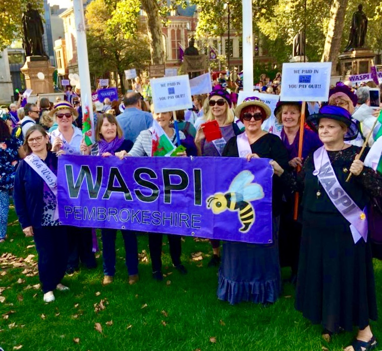 Women from Pembrokeshire WASPI joined thousands at the London demo against changes to the state pension age.