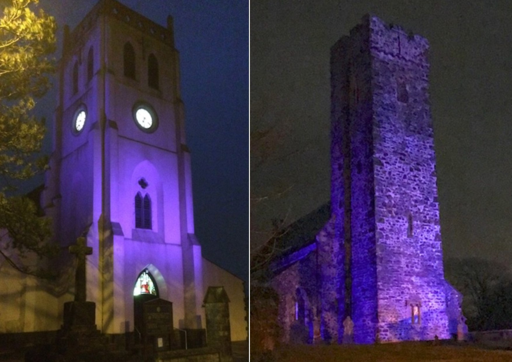 Lit up in purple: St Katharine and St Peter's Church, St. Cewydd and St. Peter Church in Steynton.