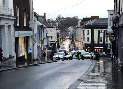 Police stop traffic High Street Haverfordwest
