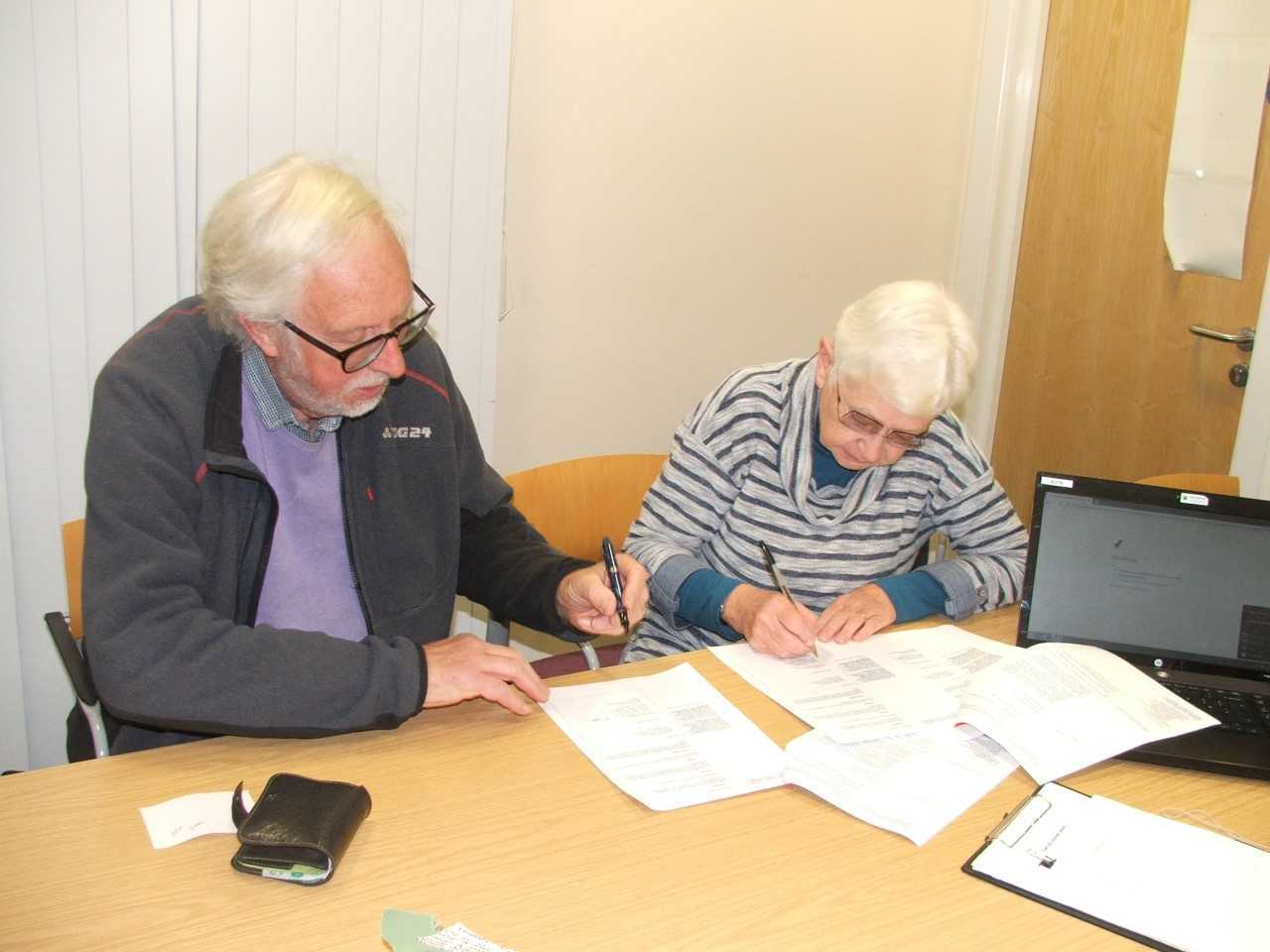 . The theatre's trustees Jill Edge and Brian Jackson sign the CAT agreement.
