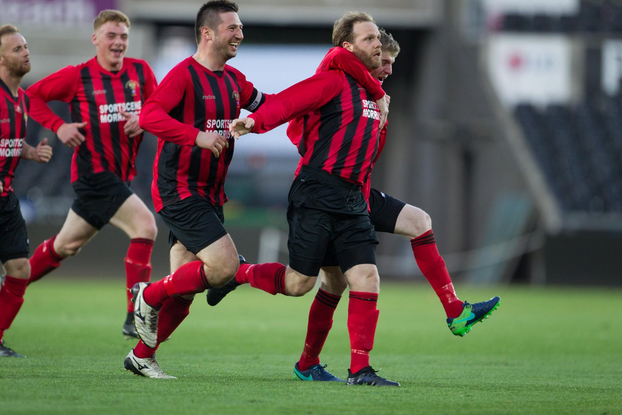 Lee Hudgell celebrates his winner for Goodwick in last season's final.