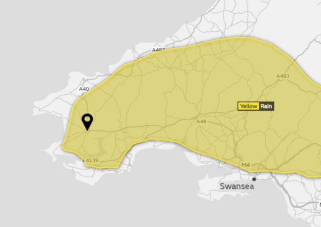 A yellow weather warning is in place across Pembrokeshire this morning. PICTURE: Met Office.