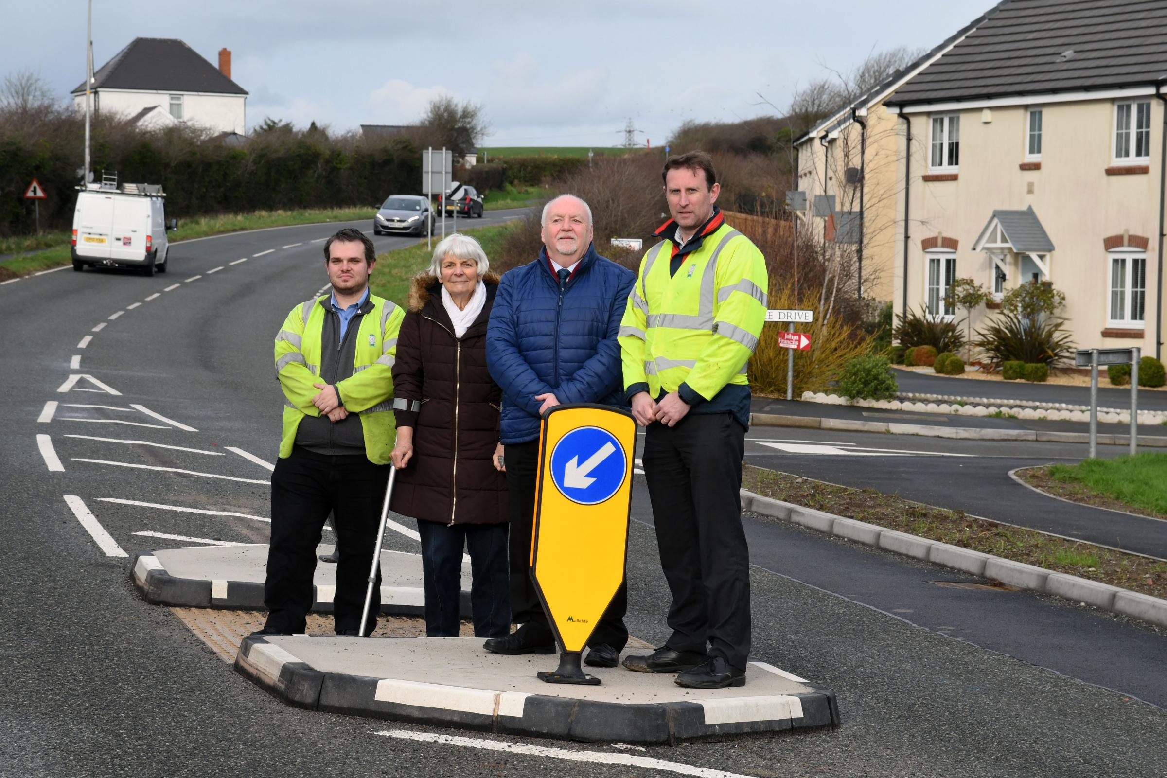 Pictured are Cllr Viv Stoddart, Cllr Phil Baker together with PCC Highways engineer Anthony Price and Highways technician Richard Murray.