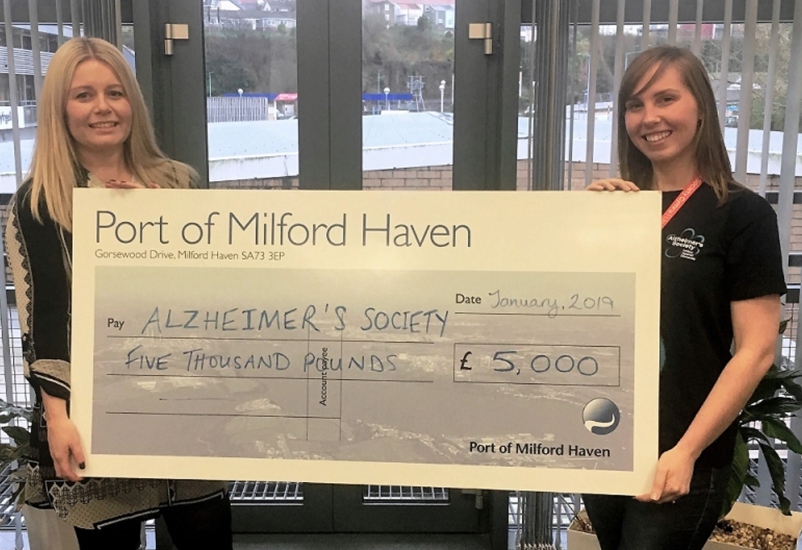 Anna Malloy (left), Stakeholder Engagement and Communications Manager at the Port of Milford Haven with Jess Simmons (right), Community Fundraiser West Wales, Alzheimer's Society Cymru.