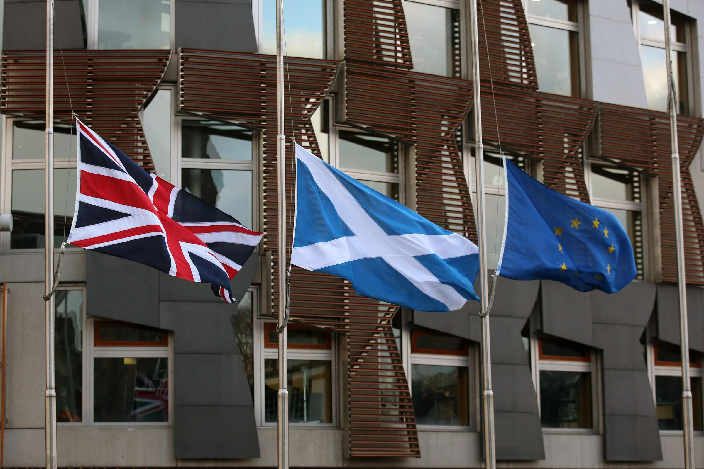 Flags outside of Holyrood