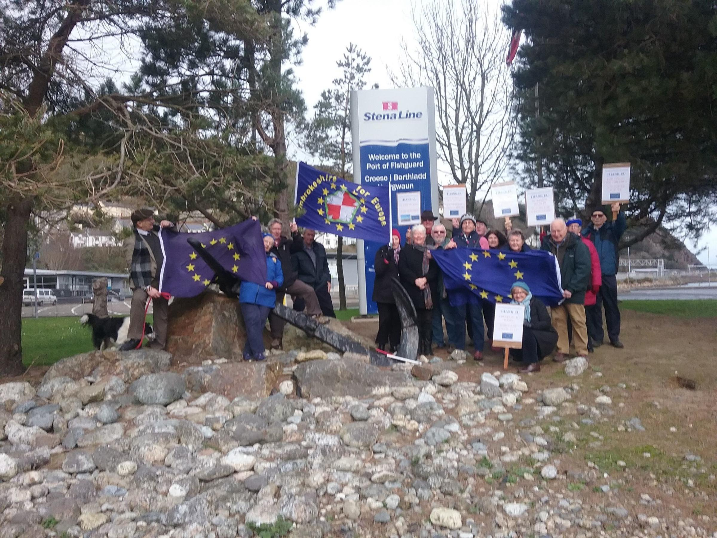 Members of Pembrokeshire for Europe are pictured at Fishguard port.