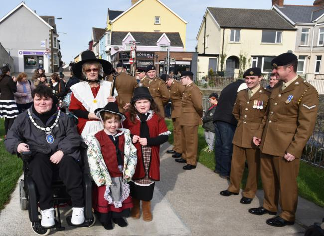 Jemima Nicholas, aka Kay Roach, led the Last Invasion of Britain parade in Fishguard. PIC: Johnny Morris