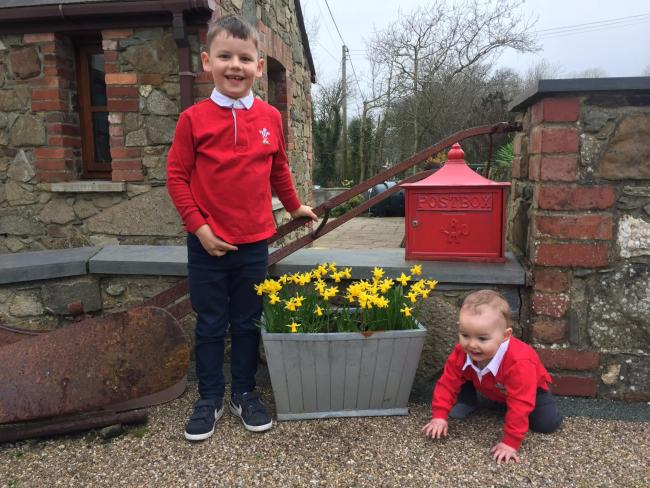 Morgan (6) and Aled (1) Roche from Castlemorris