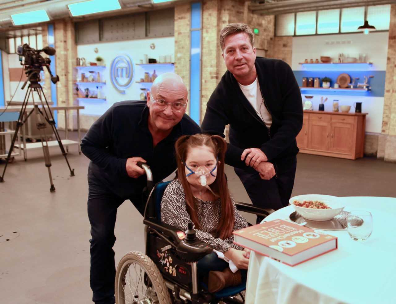 Belle visited the Masterchef studios in London and met her heroes, presenters Gregg Wallace (left) and John Torode (right).