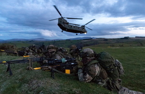 40 Commando Royal Marines exercise with Chinook helicopters during Exercise Joint Warrior 2018.